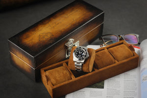 Petra Watch Case for 4 Watches - Scripto Patina Light Brown