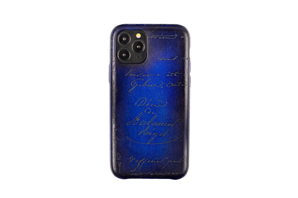 Bosphorus Leather Patina Blue Iphone Case for 11 , 11 Pro and 11 Pro Max