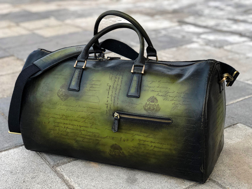 Bosphorus Leather Duffle Bag Medium Size - Scripto Green
