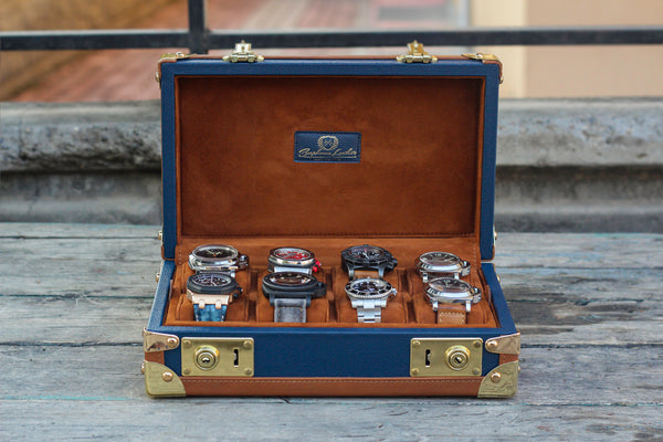 Petra Watch Case for Eight Watches - Saffiano Navy Blue - In Stock !