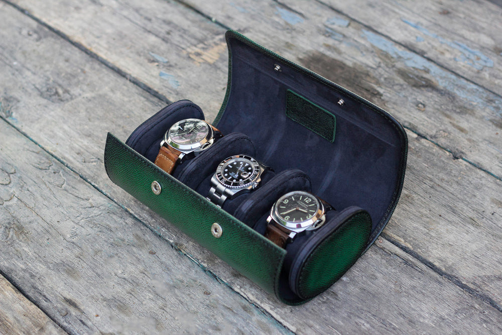 Galata Watch Roll - Patina Saffiano English Green for Three Watches