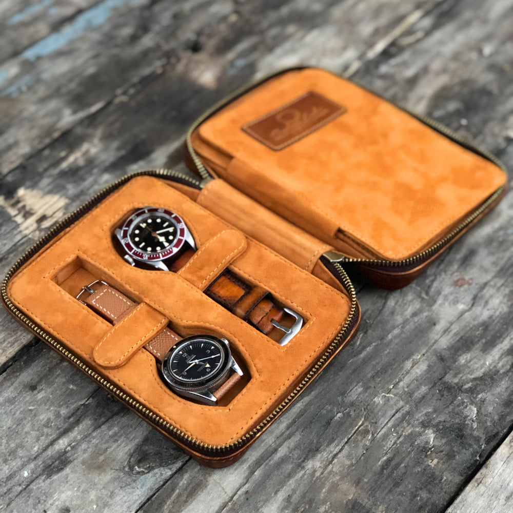 Patina Honey Brown Zipper Watch Case for Four Watches