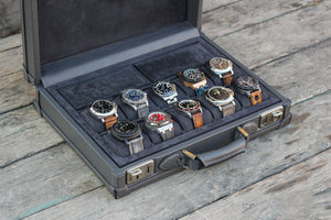 Watch Collector Case - Saffiano Dark Grey for 10 or 15 Watches