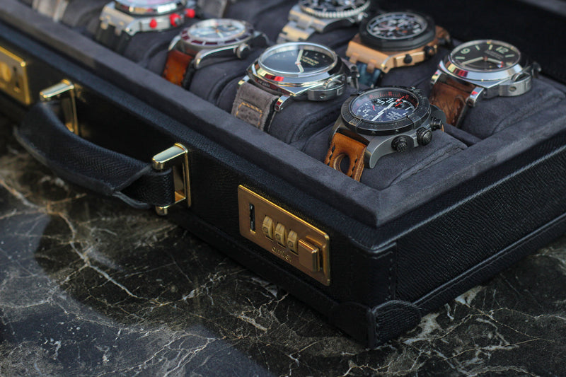 Watch Collector Case Combination Lock - Saffiano Black for 10 or 15 Watches