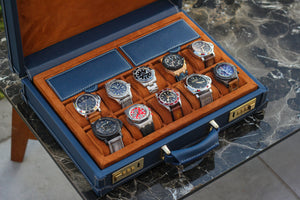 Watch Collector Case Combination Lock Saffiano Navy Blue