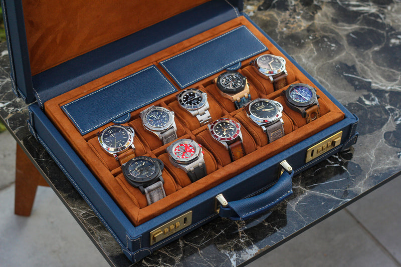 Watch Collector Case Combination Lock - Saffiano Navy Blue for 10 or 15 Watches - In Stock
