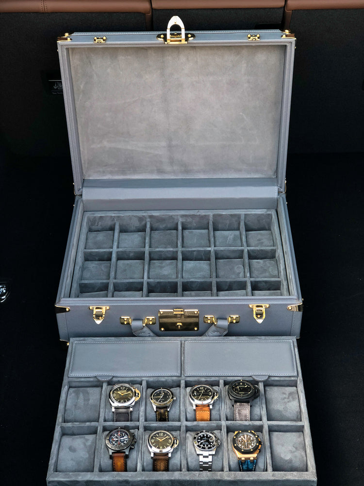 Watch Trunk - Saffiano Grey for 30 Watches