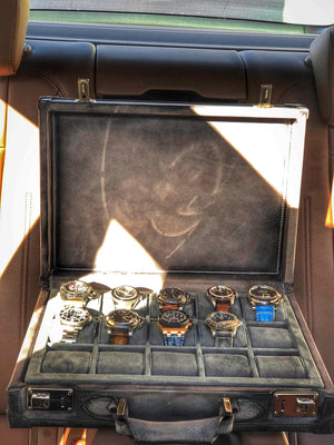 Watch Collector Case - Patina Grey for 10 or 15 Watches