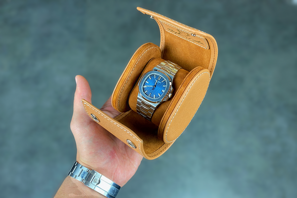 Galata Saffiano Camel Watch Roll - In Stock !