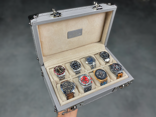 Petra Watch Case for Eight Watches - Saffiano Light Grey