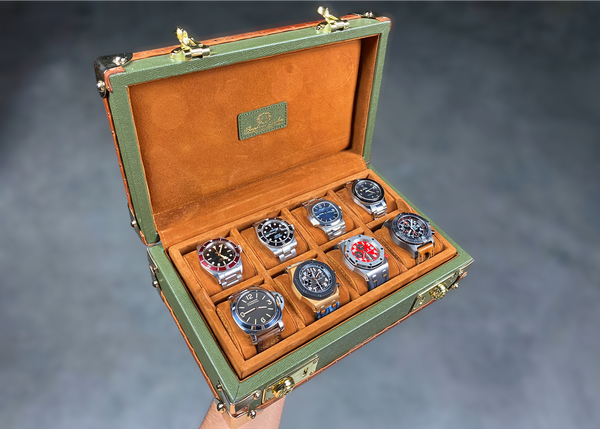 Petra Watch Case for Eight Watches - Saffiano Olive Green