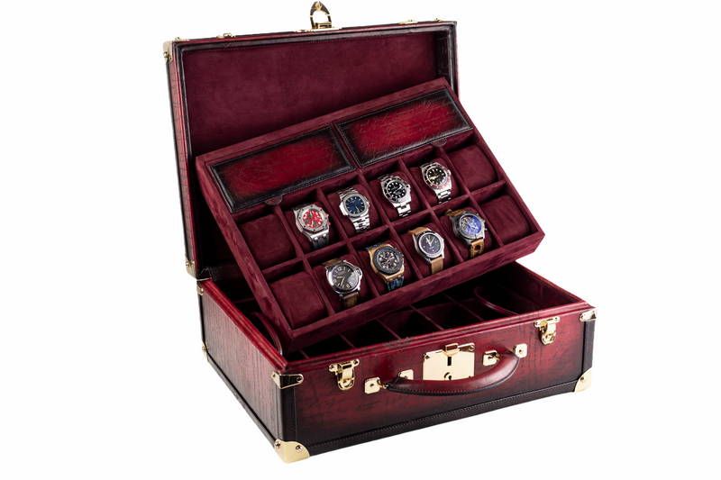 Watch Trunk - Parchment Patina Red for 30 Watches