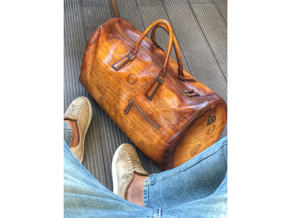 Leather Duffle Bag Scripto Brown