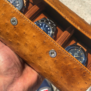 Galata Ostrich Patina Honey Brown for Three Watches