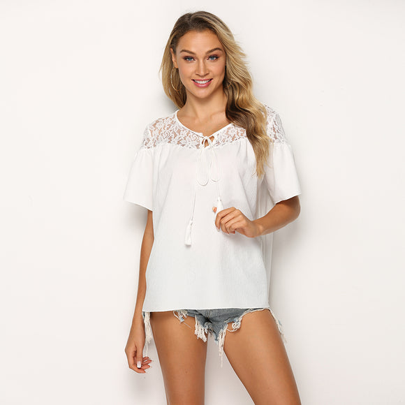 European and American new short-sleeved lace stitching T-shirt with tie chiffon shirt top