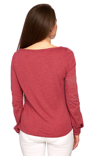 Divine Twist Sleeve Tee in Strawberry Heather