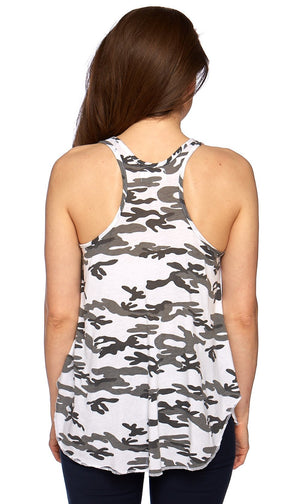 Friday Racerback Tank Black and White Camo