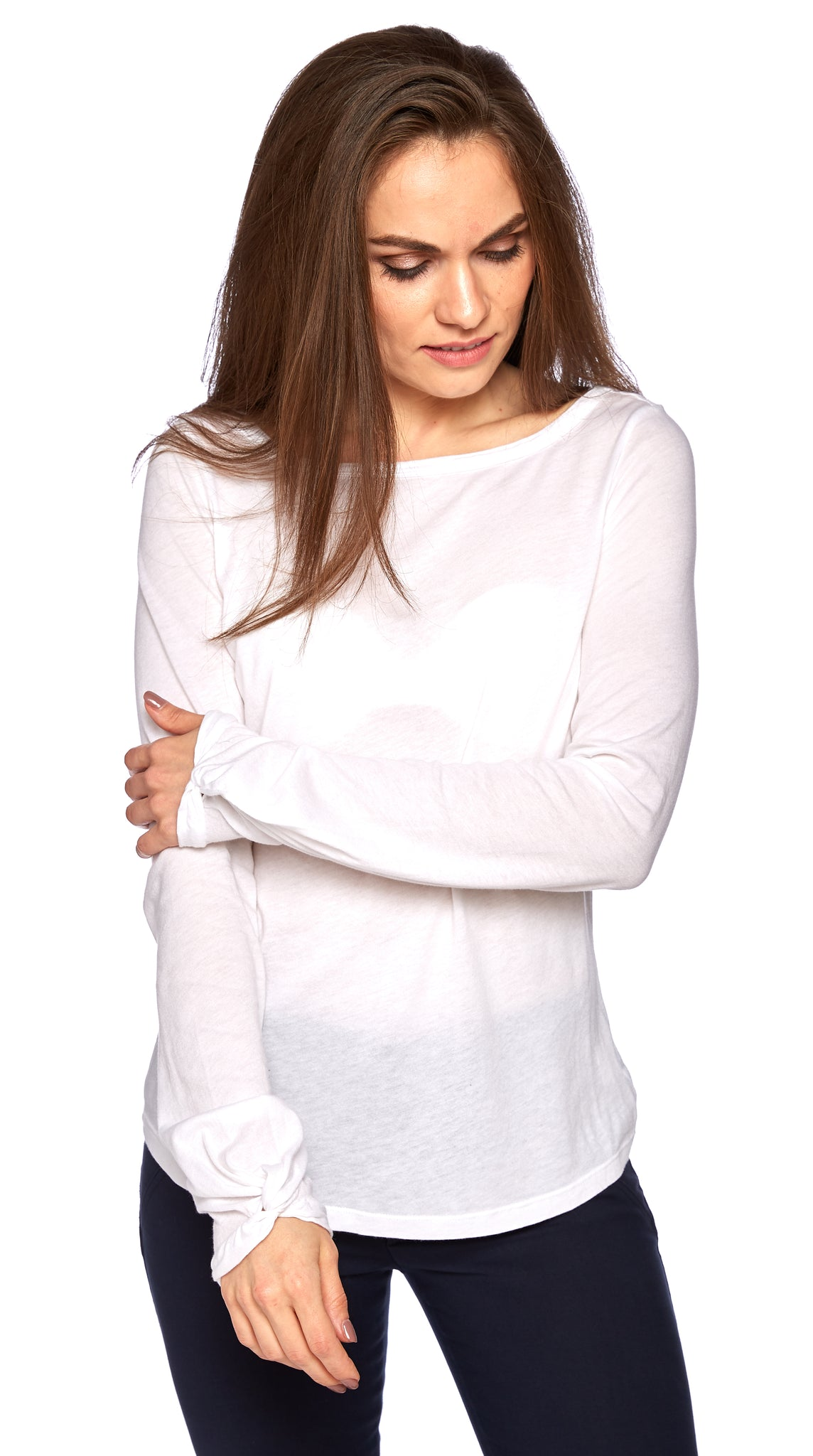 Divine Twist Sleeve Tee in Optic White