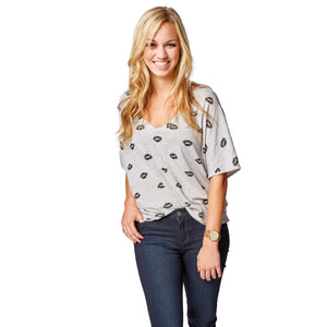 Viva Deep V Neck tee in Heather Kisses