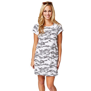 Kismet Dress in Black and White Camo