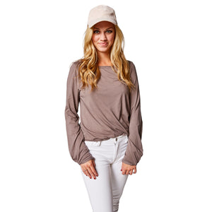 Divine Twist Sleeve Tee in Twilight Mauve