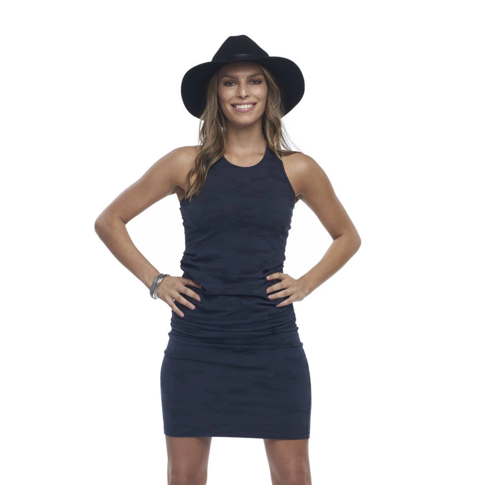 Runway ruched dress in Lady Navy Camo