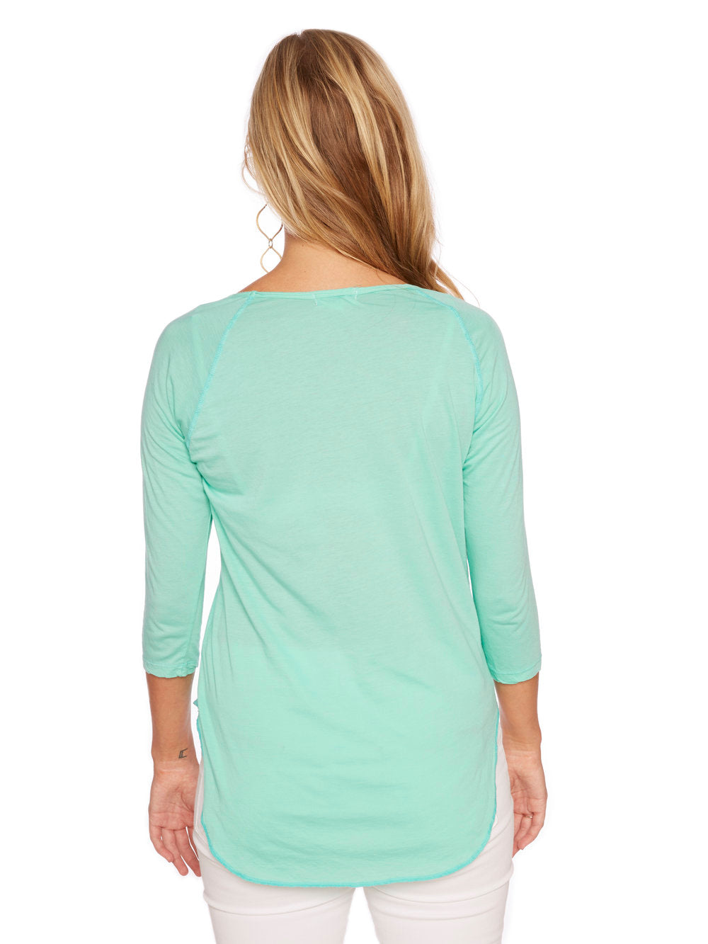 Saturday 3/4 Sleeve Raglan in Electric Green