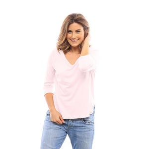 Saturday 3/4 Sleeve Raglan in Sheer Pink
