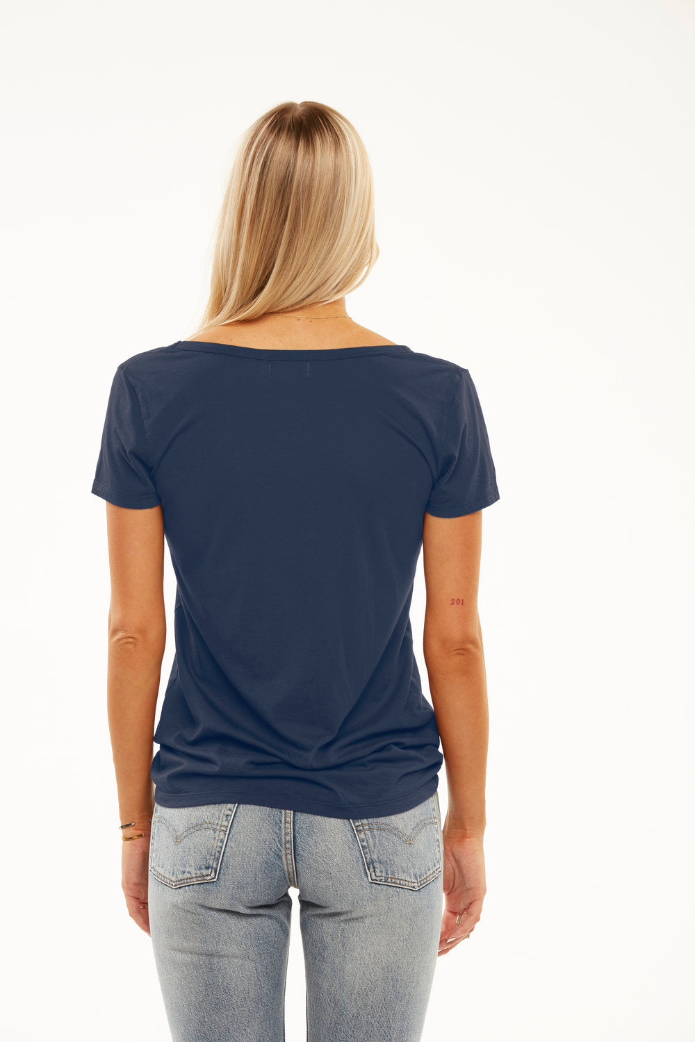 Cruz Deep V Boyfriend Tee in Lady Navy