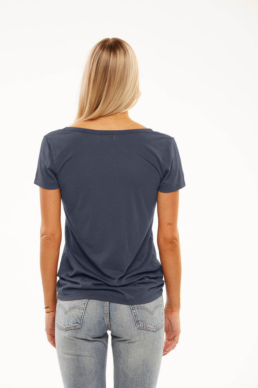 Cruz Deep V Boyfriend Tee in Polished Gray