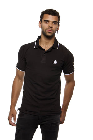 NFA Black Polo Classic Football Shirt (White Embroidered Block Leaf)