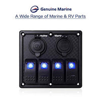 4 Gang Rocket Switch Panel Blue LED Indicator, Waterproof with 15A Fuse 5V Dual 2.1A USB Charger Socket for DC 12V/24V Marine Boat Car Rv Vehicles Truck