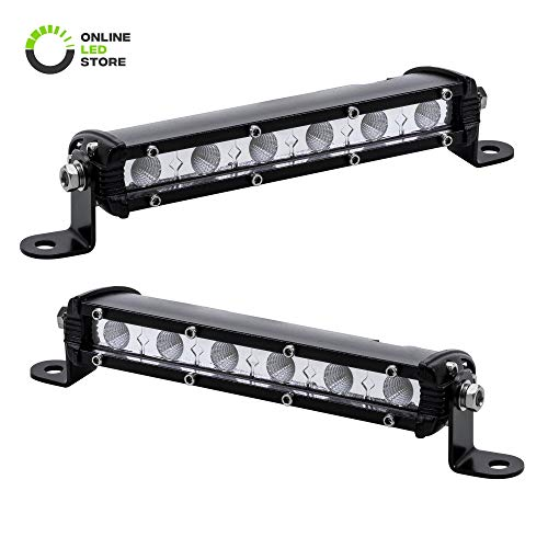 "2pc 7"" Ultra-Slim Single Row Off Road CREE LED Light Bar [1530lm] [18W] [IP68 Waterproof] [12V - 24V] Fog/Driving/Work Lights for Trucks ATV Cars - 60 Degrees Flood Light"