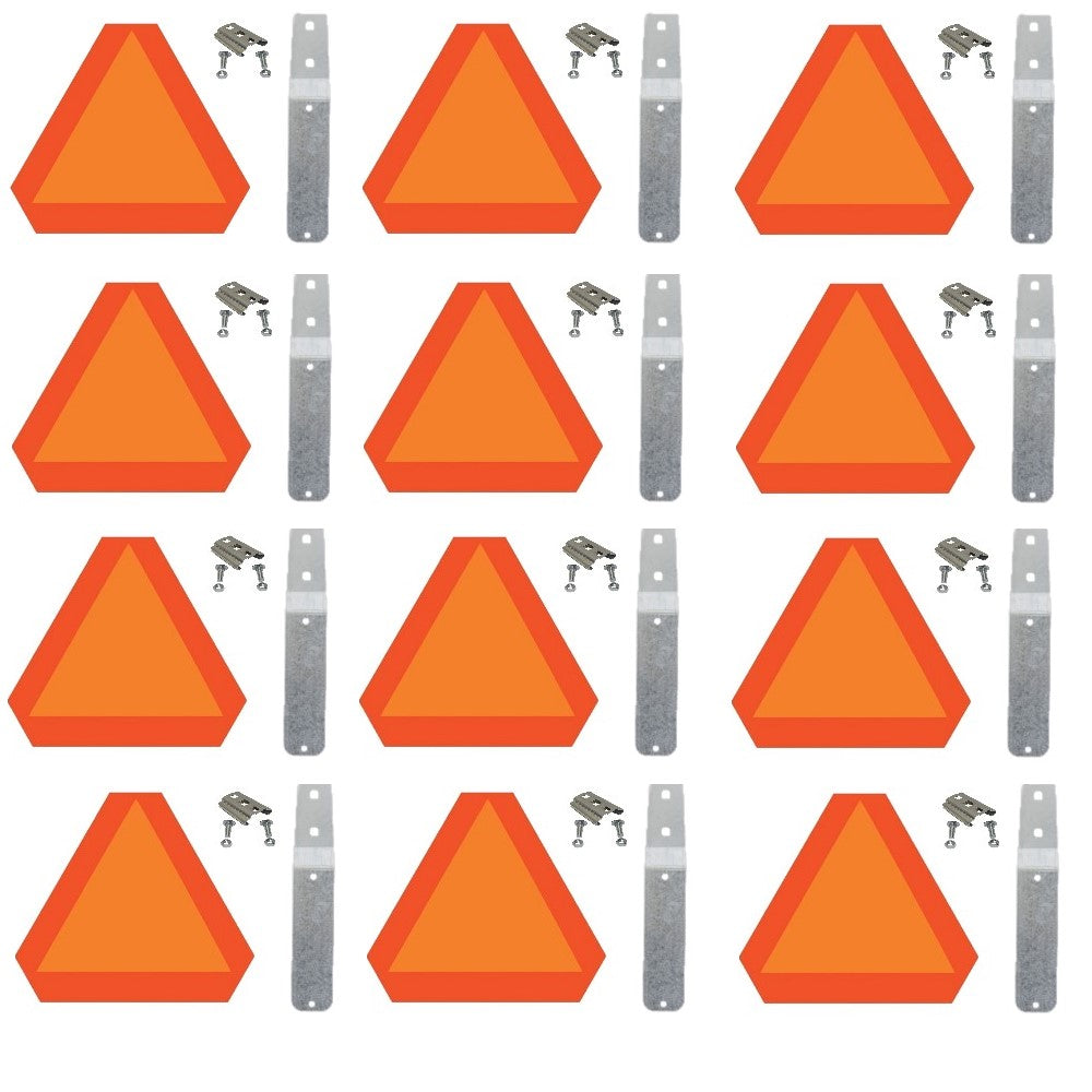 0119198X12-MNTNGKIT Set of 12 Slow Moving Signs w/ Mounting Blades, Sockets & Bolts