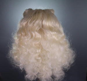 Drag Queen Wig, Space Buns Curly Platinum Blonde Prestyled Custom Lace Front Wig Style , Drag Queens