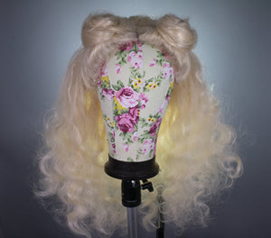 Drag Queen Wig, Golden Platinum Blonde , Space Buns Curly