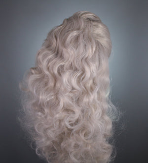 Drag Queen Wig, Ash Silver Blonde Gray Sideswept Vintage Wave Prestyled Lace Front Wig - Drag Queens, Cosplay