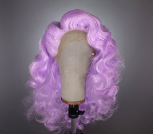 Drag Queen Wig, Violet Lavender Purple Vintage Wave Curly Prestyled Lace Front Wig - Drag Queens, Cosplay