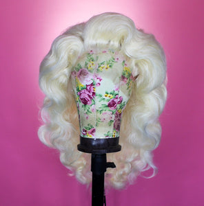 Drag Queen Wig, Platinum Blonde , Classic Glam Side Part