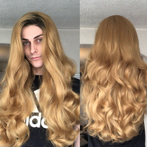 Stacked 360% Density, Rooted Dirty Blonde, Drag Queen Wig