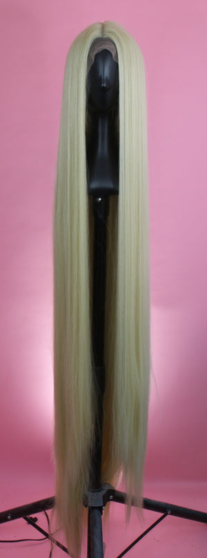 Extra Long Rapunzel Platinum Blonde, Drag Queen Wig, 64""