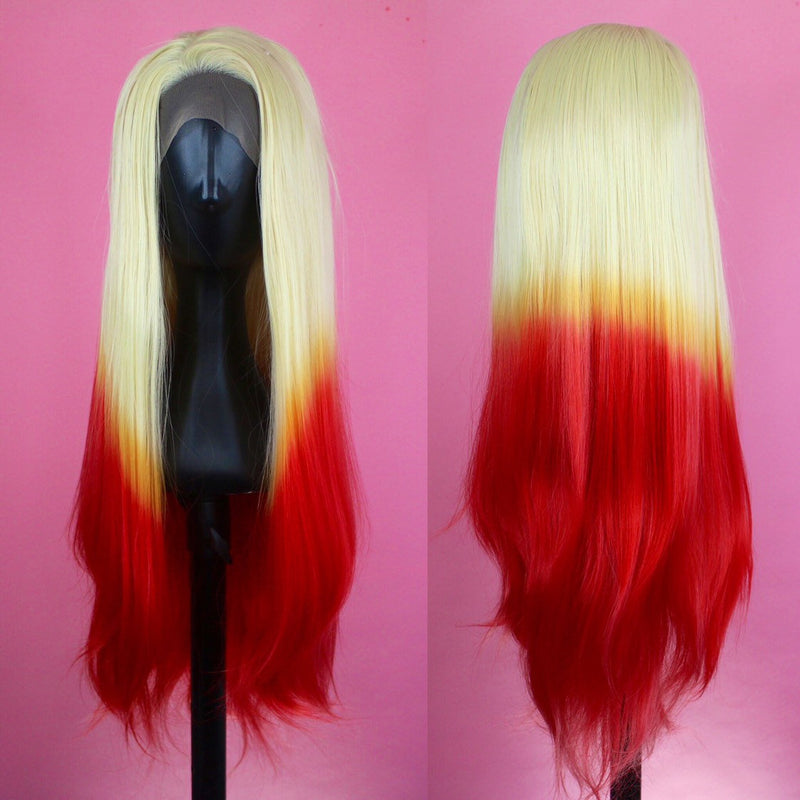 Fire Blonde Orange and Red Ombre, Drag Queen Wig