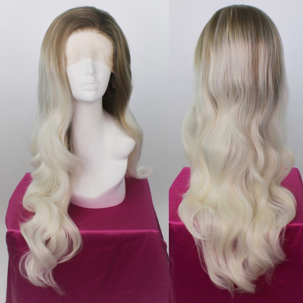 Stephanie Dirty Blonde White Ombré Lace Front Wig
