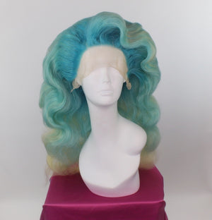 Mint Green Finger Waves Side-Swept Custom Wig