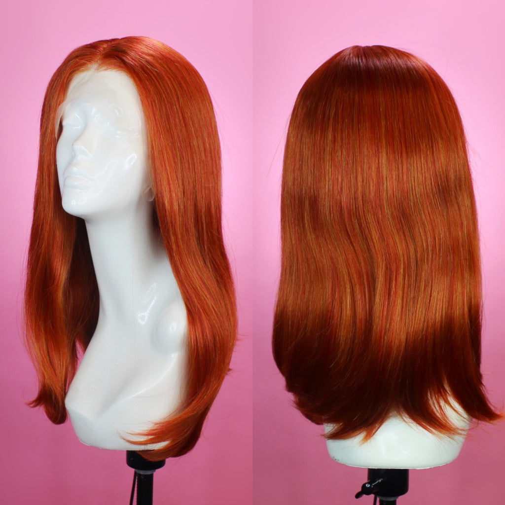 Victoria Bright Ginger Lace Front Wig, Drag Queen Wig