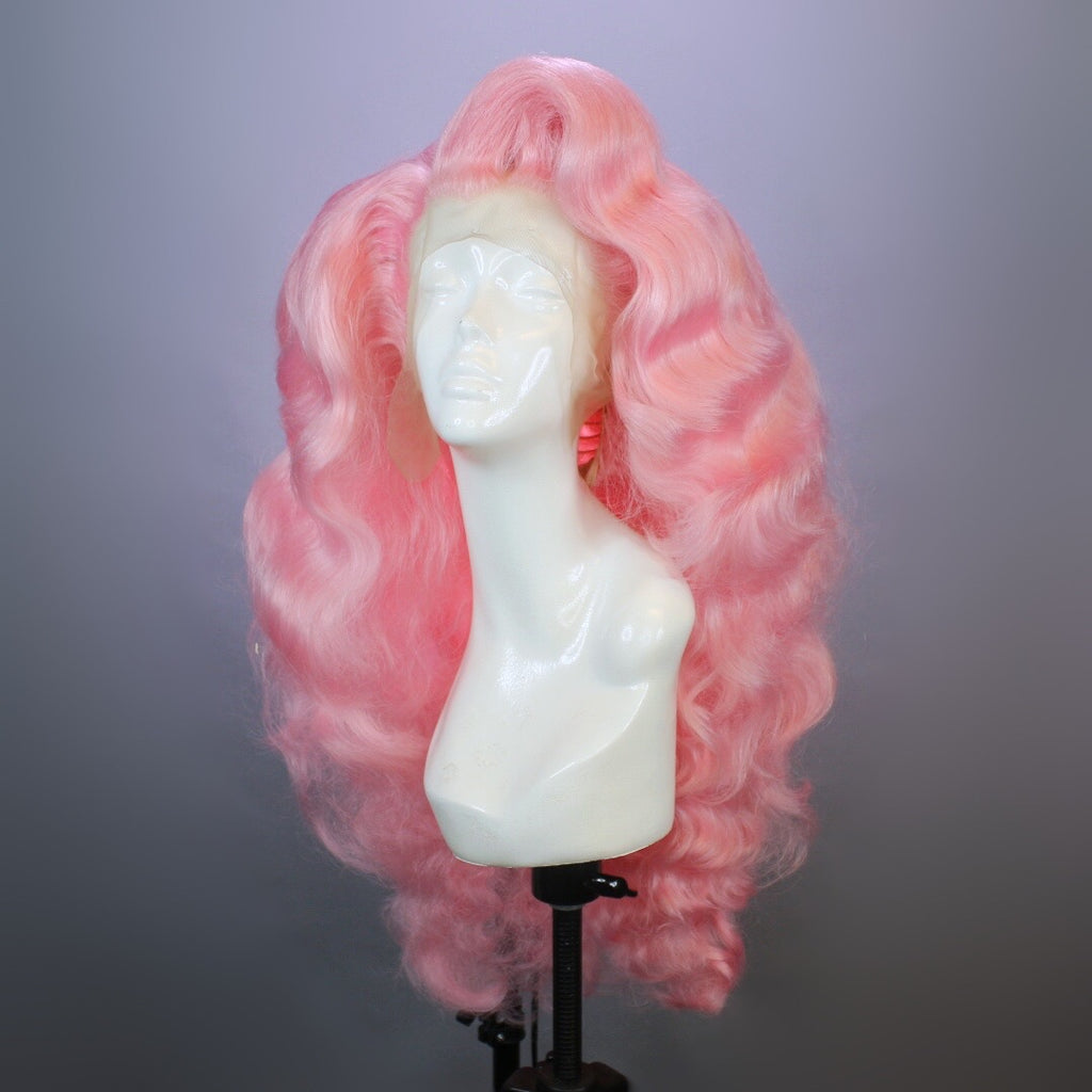 Pastel Pink Extra Long Finger Waves Wig