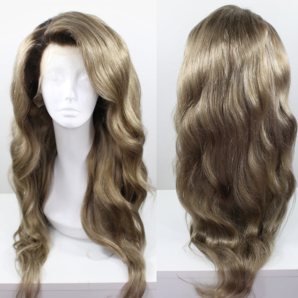 Dark Ash Blonde Shadow Roots Custom Dyed Human Hair Lace Front Wig