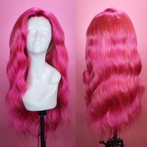 Fuchsia Pink Human Hair Wig, 13x6 Lace Front Closure