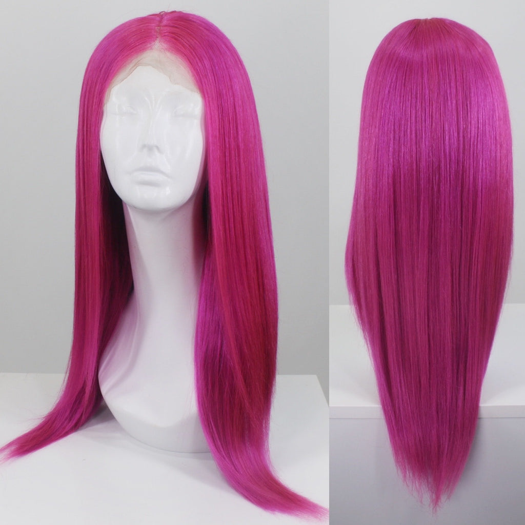 Magenta Custom Dyed Human Hair Lace Front Wig