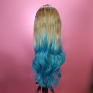 Evelyn Dirty Blonde to Blue Ombre Lace Front Wig